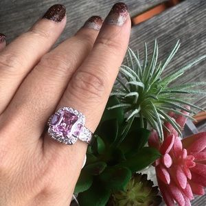 Jewelry - 🆕 3ct Emerald Cut Pink Topaz Ring Size 7